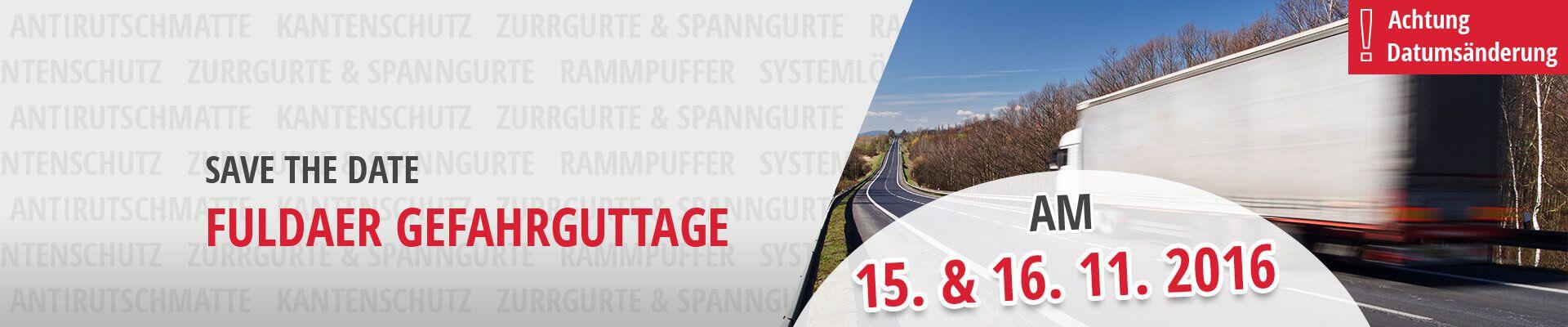 SAFE THE DATE: Fuldaer Gefahrguttage 15.-16. November 2016
