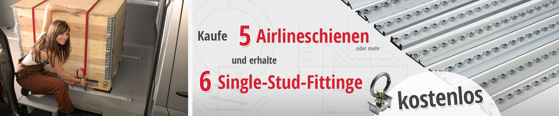 Kaufe 5 Airlineschienen oder mehr und erhalte 6 Single-Stud-Fittinge kostenlos
